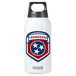 Tennessee State Flag Crest Shield Style Insulated Water Bottle