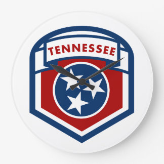 Tennessee State Flag Crest Shield Style Large Clock