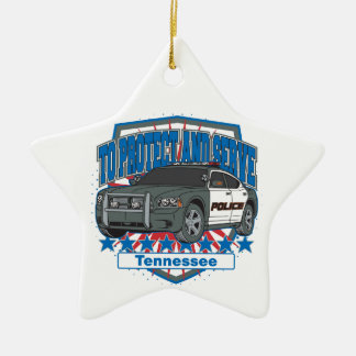 Tennessee To Protect and Serve Police Squad Car Ceramic Ornament