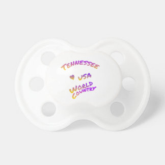 Tennessee usa world country, colorful text art baby pacifiers