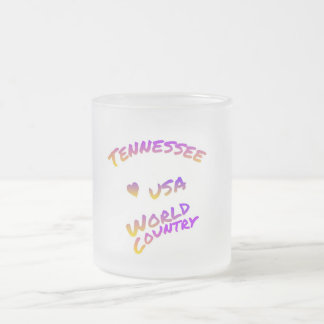 Tennessee usa world country, colorful text art frosted glass coffee mug