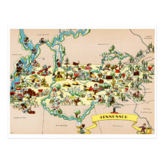 Tennessee Vintage Map Postcard