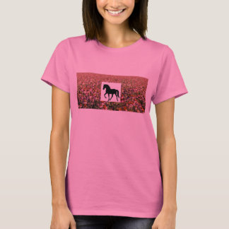 Tennessee Walking Horse Purple Coneflower Field T-Shirt