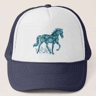 Tennessee Walking Horse Teal Grunge Floral Trucker Hat