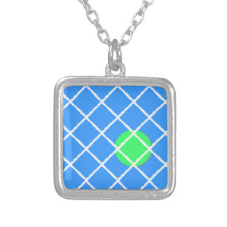 Tennis Anyone? Abstract Square Pendant Necklace