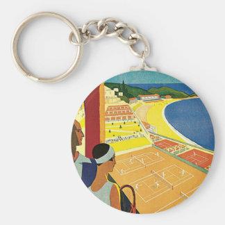 Tennis at Monte Carlo Basic Round Button Key Ring
