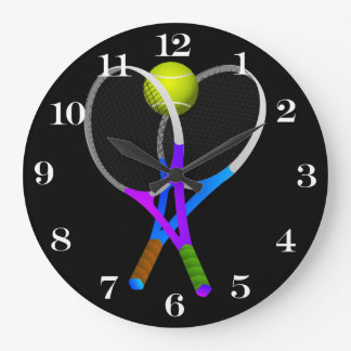 Tennis Ball and Rackets Large Clock