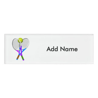 Tennis Ball and Rackets Name Tag