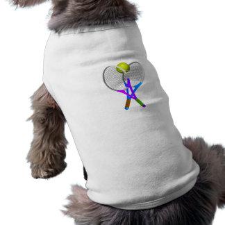 Tennis Ball and Rackets Sleeveless Dog Shirt