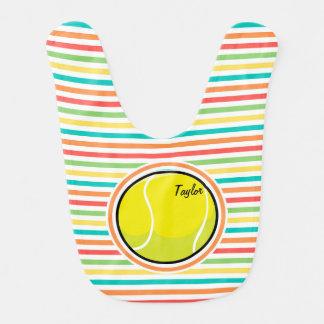 Tennis Ball; Bright Rainbow Stripes Bib