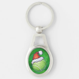Tennis Ball Christmas Silver-Colored Oval Key Ring