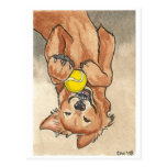 Tennis Ball Fun Golden Retriever Dog Art Post Card
