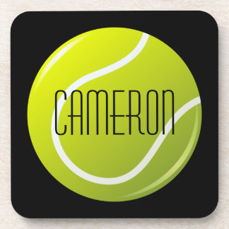 Tennis ball on black background personalized name beverage coasters