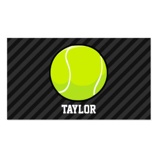 Tennis Ball on Black & Dark Gray Stripes Double-Sided Standard Business Cards (Pack Of 100)