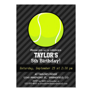 Tennis Ball on Black & Dark Gray Stripes 13 Cm X 18 Cm Invitation Card