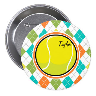 Tennis Ball on Colorful Argyle Pattern Pinback Buttons