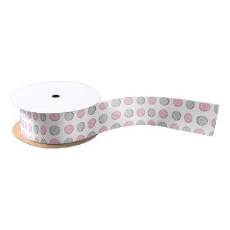 Tennis Ball Pattern Pink and Grey Satin Ribbon