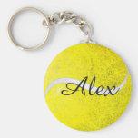 Tennis ball personalised name basic round button key ring
