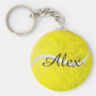 Tennis ball personalised name basic round button key ring