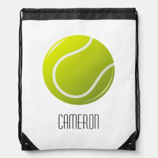 Tennis ball personalized name drawstring bag