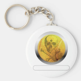 Tennis Ball Skull and Crossbones Basic Round Button Key Ring