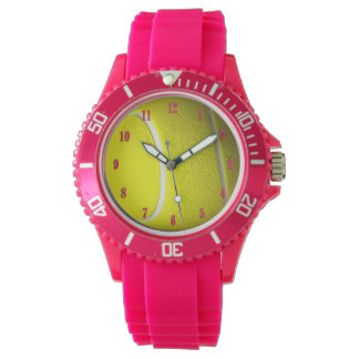 Tennis Ball Sports with Pink Numbers Watch