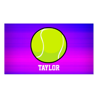 Tennis Ball; Vibrant Violet Blue and Magenta Double-Sided Standard Business Cards (Pack Of 100)