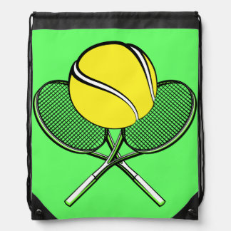Tennis Ball with Racquets Drawstring Bag
