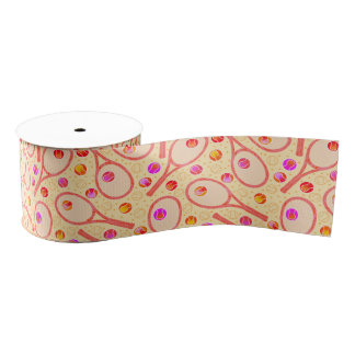 "Tennis Balls and Rackets 3"" Wide Grosgrain Ribbon"
