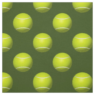 Tennis Balls on green pattern fabric