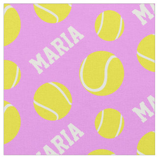 Tennis balls pink girls custom name sports pattern fabric