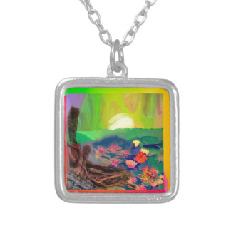 Tennis balls showed up among lilies on the pond. silver plated necklace
