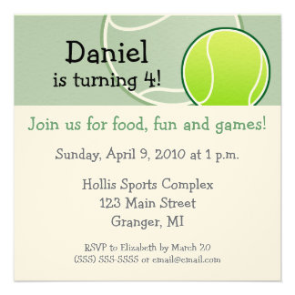Tennis Birthday Party Invitations 5.25 in