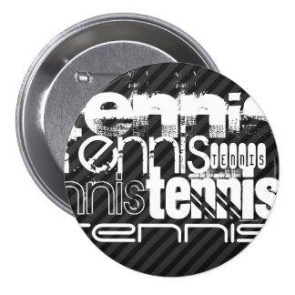 Tennis; Black & Dark Gray Stripes 7.5 Cm Round Badge