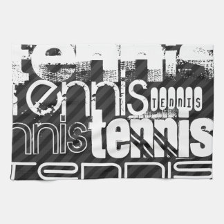 Tennis; Black & Dark Gray Stripes Tea Towel