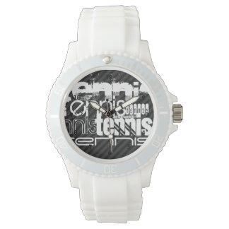 Tennis; Black & Dark Gray Stripes Wristwatch