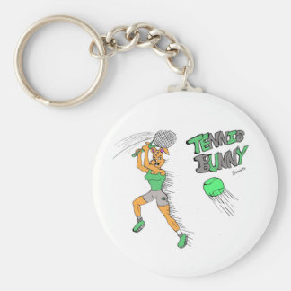 Tennis Bunny Basic Round Button Key Ring