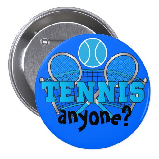 Tennis Button- Tennis Anyone? Blue