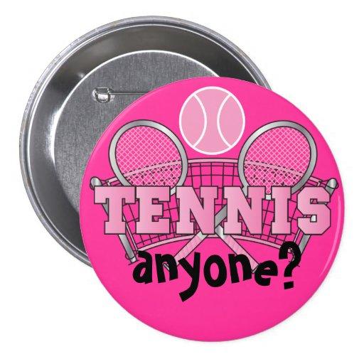 Tennis Button- Tennis Anyone? Pink