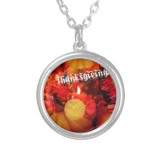 Tennis , candle and pumpkins silver plated necklace