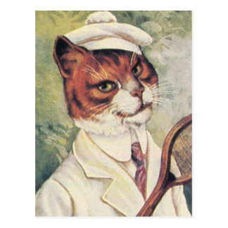 Tennis cat postcard