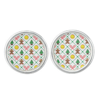 Tennis Christmas pattern Cuff Links