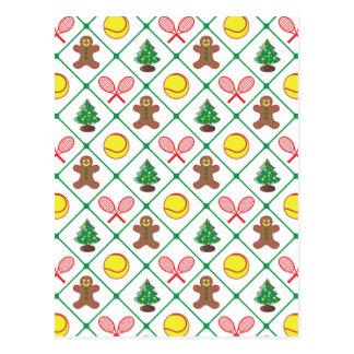 Tennis Christmas pattern Postcard