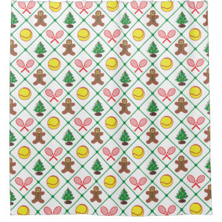 Tennis Christmas pattern Shower Curtain