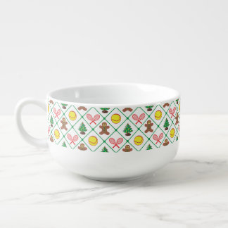 Tennis Christmas pattern Soup Mug