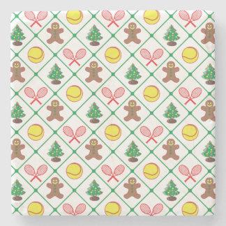 Tennis Christmas pattern Stone Coaster