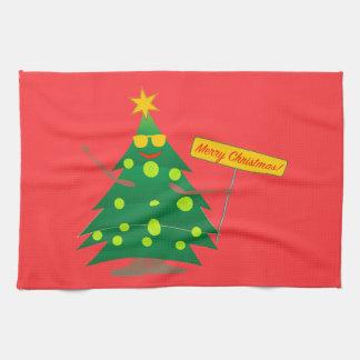 Tennis Christmas Tree Tea Towel