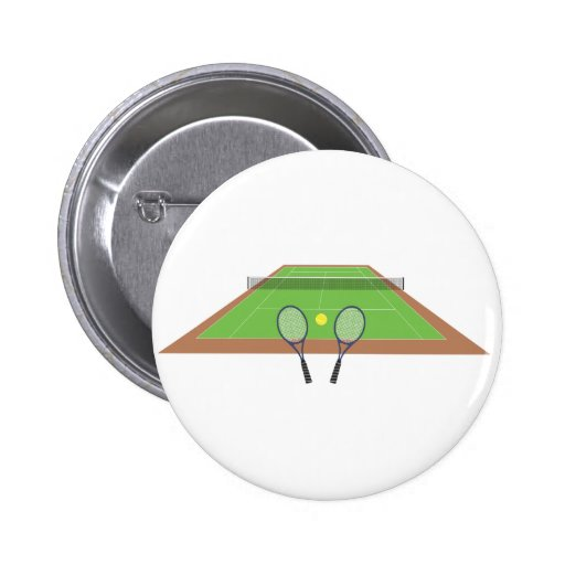 Tennis Court and Racket Button Badge