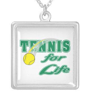 tennis for life text design square pendant necklace
