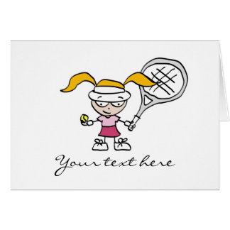 Tennis Gifts & Cards with cute cartoon girl